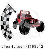 Clipart Of A Red Dune Buggy And Racing Flag Royalty Free Vector Illustration