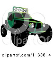 Clipart Of A Green Dune Buggy Royalty Free Vector Illustration