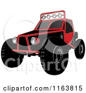 Clipart Of A Red Dune Buggy Royalty Free Vector Illustration