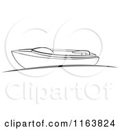 Clipart Of A Black And White Boat At A Dock Royalty Free Vector Illustration by Lal Perera