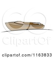 Clipart Of A Brown Boat At A Dock Royalty Free Vector Illustration