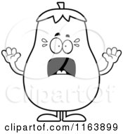Cartoon Of A Scared Eggplant Mascot Vector Outlined Coloring Page by Cory Thoman