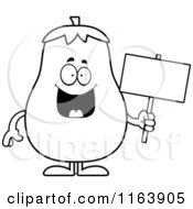 Cartoon Of A Eggplant Mascot Holding A Sign Vector Outlined Coloring Page