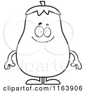 Cartoon Of A Happy Eggplant Mascot Vector Outlined Coloring Page by Cory Thoman