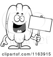 Cartoon Of A Pecan Mascot Holding A Sign Vector Outlined Coloring Page