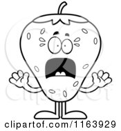Cartoon Of A Scared Strawberry Mascot Vector Outlined Coloring Page
