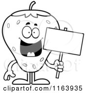 Cartoon Of A Strawberry Mascot Holding A Sign Vector Outlined Coloring Page