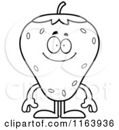 Cartoon Of A Happy Strawberry Mascot Vector Outlined Coloring Page
