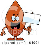 Cartoon Of A Sweet Potato Mascot Holding A Sign Royalty Free Vector Clipart by Cory Thoman