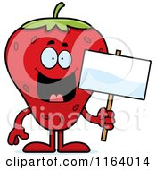 Cartoon Of A Strawberry Mascot Holding A Sign Royalty Free Vector Clipart by Cory Thoman