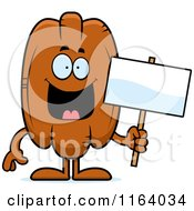 Cartoon Of A Pecan Mascot Holding A Sign Royalty Free Vector Clipart by Cory Thoman
