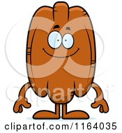 Cartoon Of A Happy Pecan Mascot Royalty Free Vector Clipart