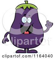 Cartoon Of A Smart Purple Eggplant Mascot With An Idea Royalty Free Vector Clipart by Cory Thoman