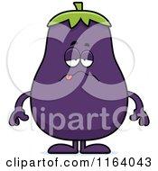 Cartoon Of A Sick Purple Eggplant Mascot Royalty Free Vector Clipart by Cory Thoman