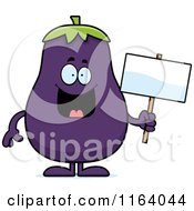 Cartoon Of A Purple Eggplant Mascot Holding A Sign Royalty Free Vector Clipart
