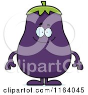 Cartoon Of A Happy Purple Eggplant Mascot Royalty Free Vector Clipart
