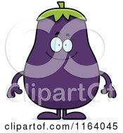 Happy Purple Eggplant Mascot
