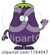 Cartoon Of A Waving Purple Eggplant Mascot Royalty Free Vector Clipart by Cory Thoman