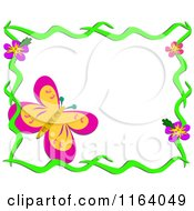 Large Butterfly In A Floral Frame