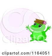 Cute Frog Wearinga Hat By A Pink Fame