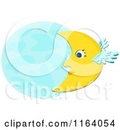 Cartoon Of A Winged Crescent Moon And Full Moon Royalty Free Vector Clipart