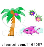 Palm Tree Fish And Flowers