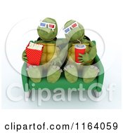Clipart Of 3d Tortoises Watching A Movie With Snacks Royalty Free CGI Illustration