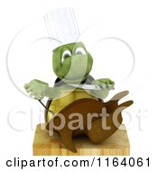 Clipart Of A 3d Chef Tortoise Carving A Roasted Chicken Royalty Free CGI Illustration by KJ Pargeter