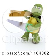 Clipart Of A 3d Carpenter Tortoise With A Saw And Lumber Royalty Free CGI Illustration