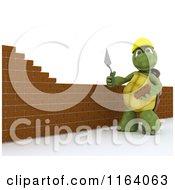 3d Tortoise Mason Contractor Building A Brick Wall 3