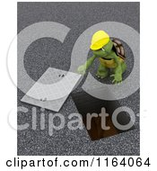 Clipart Of A 3d Contractor Tortoise At A Man Hole Royalty Free CGI Illustration by KJ Pargeter