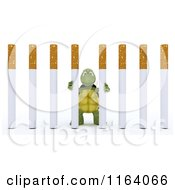 Clipart Of A 3d Tortoise Stuck Behind Cigarette Prison Bars Royalty Free CGI Illustration
