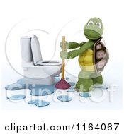 Clipart Of A 3d Tortoise With A Plunger By A Toilet Royalty Free CGI Illustration