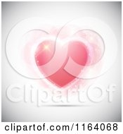 Clipart Of A Sparkly Pink Heart And Flares On Shaded Gray Royalty Free Vector Illustration by KJ Pargeter