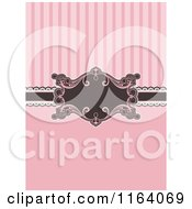 Clipart Of A Pink And Brown Invitation With Stripes And A Frame Royalty Free Vector Illustration