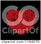 Clipart Of A Grungy Red Heart Splatter On Black Royalty Free Vector Illustration