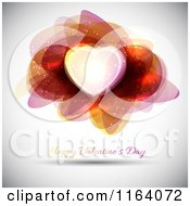 Clipart Of A Happy Valentines Day Greeting Under A Heart And Abstract Shapes Royalty Free Vector Illustration