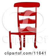 Red Wooden Chair Clipart Illustration