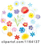 Cartoon Of Colorful Flowers Royalty Free Vector Clipart by Alex Bannykh