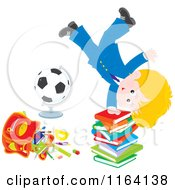 School Boy Doing A Hand Stand On A Stack Of Books By A Globe