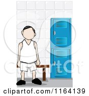 Cartoon Of A Faceless Man In A Locker Room Royalty Free Vector Clipart
