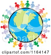Cartoon Of A Network Of Colorful People Standing Around The World Royalty Free Vector Clipart by Johnny Sajem