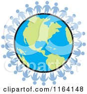 Cartoon Of A Network Of Blue People Standing Around The World Royalty Free Vector Clipart