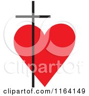 Cartoon Of A Black Cross Over A Red Heart Royalty Free Vector Clipart