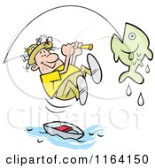 Cartoon Of A Fisherman Leaping From His Boat To Reel In A Fish Royalty Free Vector Clipart