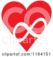 Cartoon Of A Red Heart With A White Infinity Symbol Royalty Free Vector Clipart by Johnny Sajem