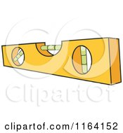 Cartoon Of A Yellow Level Tool Royalty Free Vector Clipart