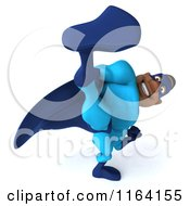 Clipart Of A 3d Kicking Black Super Hero Man In A Blue Costume 2 Royalty Free CGI Illustration
