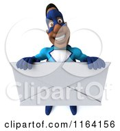 Clipart Of A 3d Black Super Hero Man In A Blue Costume Holding An Envelope Royalty Free CGI Illustration