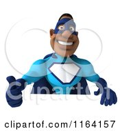 Clipart Of A 3d Thumb Up Black Super Hero Man In A Blue Costume Over A Sign Royalty Free CGI Illustration